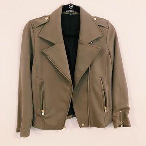 Express olive cropped boxy Moto jacket